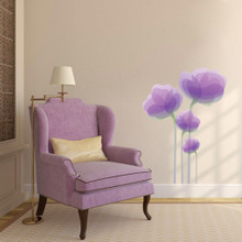 "Purple Flowers Printed Wall Decals 26"" wide x  36"" tall Sample Image"