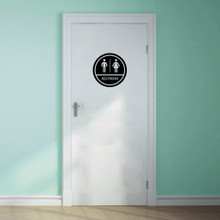 "Restroom Sign Wall Decals 12"" wide x 12"" tall Sample Image"