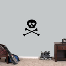 """Skull and Crossbones Wall Decals 18"""" wide x 18"""" tall Sample Image"""