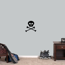 """Skull and Crossbones Wall Decals 12"""" wide x 12"""" tall Sample Image"""