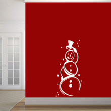 "Cute Snowman Wall Decal 22"" wide x 48"" tall Sample Image"
