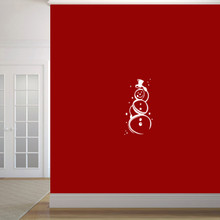 "Cute Snowman Wall Decal 12"" wide x 24"" tall Sample Image"
