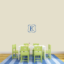 "Custom Curly Frame Monogram Wall Decal 12"" wide x 12"" tall Sample Image"