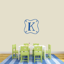 "Custom Curly Frame Monogram Wall Decal 22"" wide x 22"" tall Sample Image"