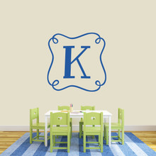"Custom Curly Frame Monogram Wall Decal 36"" wide x 36"" tall Sample Image"