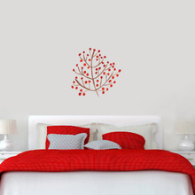 "Red Berry Branch Printed Wall Decals 24"" wide x 24"" tall Sample Image"