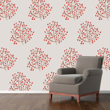 Red Berry Branch Printed Wall Decals Sample Image