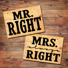 Mr. Right & Mrs. Always Right Wall Decals - Sample Image - Signs Not Included