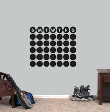 "Chalkboard Circle Calendar Wall Decals 24"" wide x 20.5"" tall Sample Image"