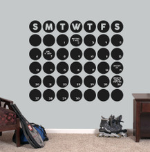 "Chalkboard Circle Calendar Wall Decals 36"" wide x 31"" tall Sample Image"
