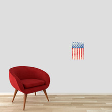"""Rustic American Flag Printed Wall Decal 8"""" wide x 12"""" tall Sample Image"""