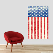 """Rustic American Flag Printed Wall Decal 30"""" wide x 48"""" tall Sample Image"""