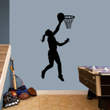 "Basketball Girl Layup Wall Decals 30"" wide x 60"" tall Sample Image"