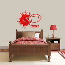 "Custom Football Breaking Wall Wall Decal 36"" wide x 27"" tall Sample Image"