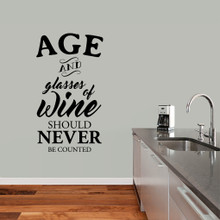 """Age And Glasses Of Wine Wall Decal 27"""" wide x 48"""" tall Sample Image"""