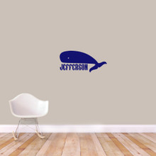 "Custom Whale Name Wall Decal 24"" wide x 11"" tall Sample Image"