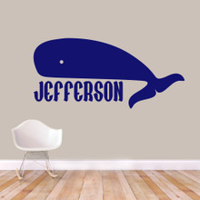 "Custom Whale Name Wall Decal 60"" wide x 28"" tall Sample Image"
