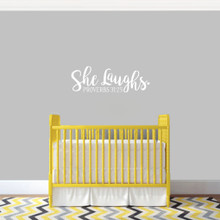 "She Laughs Ohio Wall Decal 24"" wide x 8"" tall Sample Image"