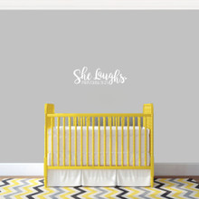 "She Laughs Ohio Wall Decal 18"" wide x 6"" tall Sample Image"