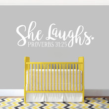 "She Laughs Ohio Wall Decal 48"" wide x 16"" tall Sample Image"