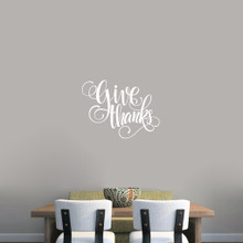 "Give Thanks Script Wall Decal 24"" wide x 18"" tall Sample Image"