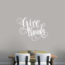"Give Thanks Script Wall Decal 36"" wide x 27"" tall Sample Image"