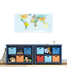 "World Map Atlas Printed Wall Decal 48"" wide x 24"" tall Sample Image"