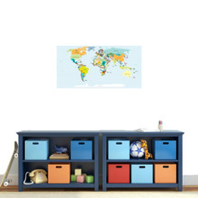 "World Map Atlas Printed Wall Decal 36"" wide x 18"" tall Sample Image"