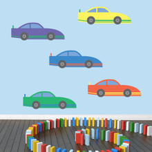 Race Cars Printed Wall Decals Large Sample Image