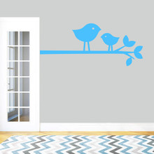 "Birdies On Branch Wall Decal 48"" wide x 20"" tall Sample Image"