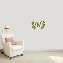 "Custom Olive Branch Wreath Monogram Wall Decal 18"" wide x 12"" tall Sample Image"