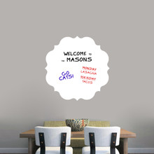 "Dry Erase Badge Wall Decals 23"" wide x 23"" tall Sample Image (writing not included)"