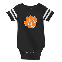 Black / White Seneca East Paw Print Infant Jersey Onesie T-Shirt
