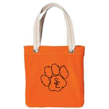 Bright Orange / Chocolate Seneca East Paw Print Tote Bag