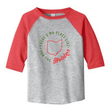 Vintage Heather / Vintage Red There's No Place Like Ohio Holiday Toddler 3/4 Length Sleeve Raglan T-Shirt