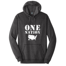 Heathered Black One Nation Ohio Adult Unisex Fleece Hoodie Front