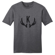 Heathered Charcoal Antlers Monogram T-Shirt