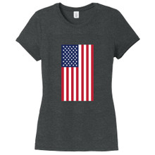 Black Frost American Flag Women's Fitted T-Shirt