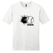 White Custom Baseball Breaking Through Wall T-Shirt