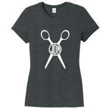 Black Frost Custom Circle Monogram Scissors Women's Fitted T-Shirt