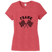 Red Frost Custom Checkered Flags Women's Fitted T-Shirt