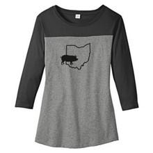 Black / Gray Frost Custom State Pig Silhouette Women's 3/4 Length T-Shirt