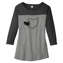 Black / Gray Frost Custom State Turkey Silhouette Women's 3/4 Length T-Shirt