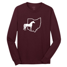 Athletic Maroon Custom State Horse Silhouette Long Sleeve T-Shirt