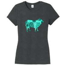 Black Frost - Teal Paisley Custom Pattern Sheep Silhouette Women's Fitted T-Shirt
