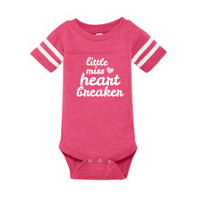 Little Miss Heartbreaker infant onesie in hot pink with contrasting white on sleeves.