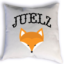 This cute custom fox name pillow will look perfect in your kid's room or nursery. This will fit with a woodland themed bedroom. Give this as a baby shower gift, to welcome a new baby or a birthday!