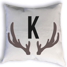 This cool antlers monogram pillow is a perfect personalized addition to any room in your home, especially for that hunting enthusiast. Choose the color of the monogram to add even more personalization to the pillow.