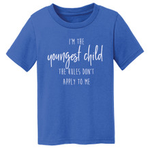 Sibling birth order shirt, youngest child shown on blue