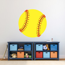 "Softball Printed Wall Decal 30"" wide x 30"" tall Sample Image"